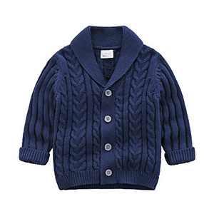 Feidoog Infant Baby Boys Cardigan Crochet Sweater V-Neck,Toddler Knit Button up Knitted Pattern Pullover Sweatshirt, Blue,18-24 M