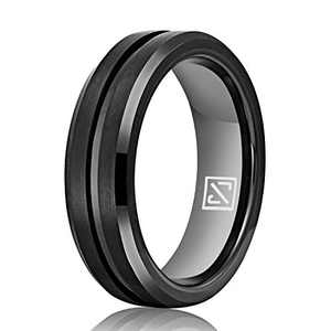 Luxffield 6mm Black Promise Ring for Men Women Thin Groove Tungsten Wedding Bands Engagement Couple Rings, Size 12.5