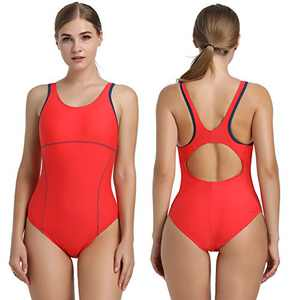 Women's Sport One Piece Swimsuit Racerback Athletic Pro Swimwear Chlorine Resistant Bathing Suit(Red,XL)