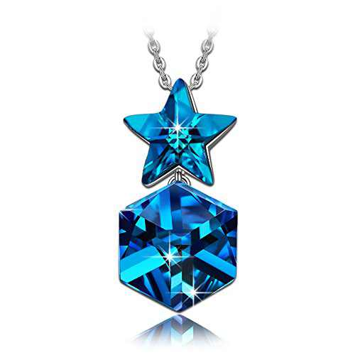 NINASUN Blue Twinkle Star Necklace for Teen Girls Mother's Day Birthstone Sterling Silver Pendant Necklace Crystals from Jewelry Anniversary Birthday Gift for Daughter Girlfriend