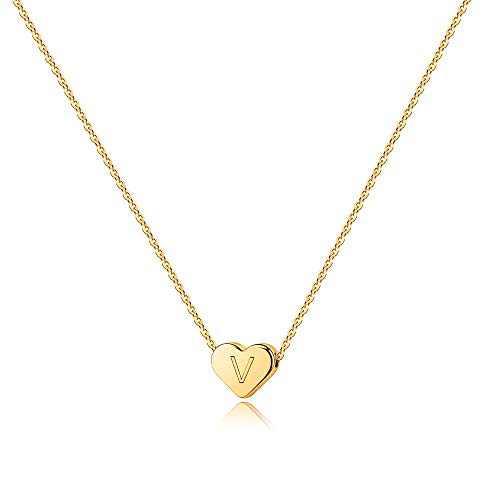 Turandoss Gold V Initial Necklace for Women - 14K Gold Filled Heart Initial Necklaces for Women, Tiny Initial Necklace for Girls Kids Child, Heart Initial Necklace Women Girls Teens Jewelry