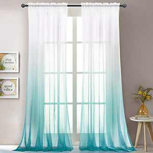 """LoyoLady Blue Sheer Curtains 96 Inch Length 2 Panels Rod Pocket Ombre Curtains for Kids Bedroom 52"""" W x 96"""" L"""
