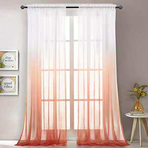 """LoyoLady Orange Sheer Curtains 63 Inch Length 2 Panels Rod Pocket Ombre Curtains for Bedroom 52"""" W x 63"""" L"""