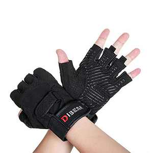 DIBEAR Weight Lifting Gloves for Women and Men,Workout Gloves with Wrist Support and Palm Protect Half Finger Gloves for Dumbbell Exercise Hanging Cycling Fitness Pull ups