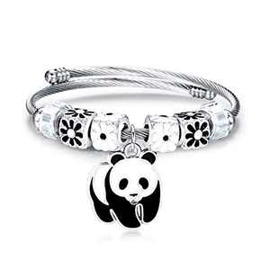 LATEEFAH Cuff Panda Bracelet for Women Adjustable Stacking Twisted Cable Bracelet Panda Charm Bangle Gifts for Girls
