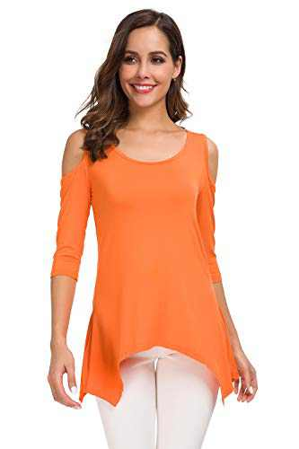 SITELUOYG Womens Cold Shoulder Tunic Tops Short Sleeve Crew Neck Cotton Casual T Shirt Swing Blouse Orange
