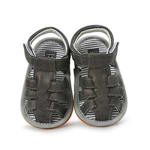 Baby Boys Girls Sandals PU Leather Rubber Sole Non-Slip Toddler Summer Shoes (Black, 12_months)