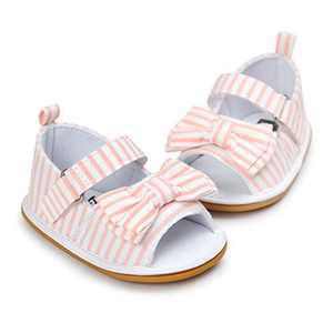 Baby Boys Girls Sandals Stripe Bow Knot Rubber Sole Non-Slip Summer Toddler Shoes
