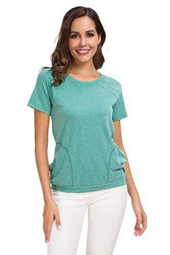 Womens Short Sleeve Casual Crew Neck Plain T Shirts Loose Fitting Basic Summer Blouses Tops with Pockets Green