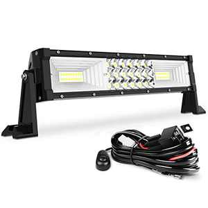 """AUTOSAVER88 14"""" LED Light Bar Triple Row Flood Spot Combo Beam Led Bar 162W Off Road Driving Lights with Wiring Harness Compatible with Jeep Trucks Boats ATV Jeep"""