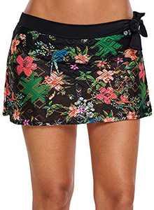 XAKALAKA Women Crochet Lace Bikini Bottom Swim Skirt Solid Swimsuit Short Pink XXXL