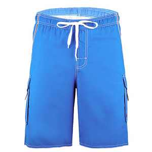 Meegsking Men Quick Dry Swim Trunks Solid Color Beach Board Shorts with Mesh Lining Cerulean Blue