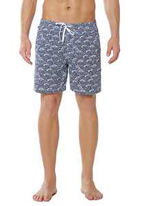 Meegsking Men's Swim Trunks Quick Dry Beach Board Shorts Bathing Suits with Mesh Lining Navy/White