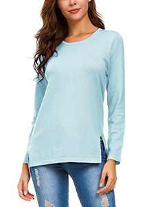 Urban CoCo Women's Solid Pullover Sweater Side Slit (S, Light Blue)