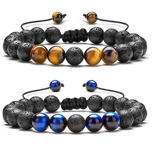 Hamoery Men Women 8mm Lava Rock Aromatherapy Anxiety Essential Oil Diffuser Bracelet Braided Rope Natural Stone Yoga Beads Bracelet Bangle(Set 4)