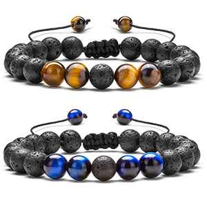 Hamoery Men Women 8mm Lava Rock Aromatherapy Anxiety Essential Oil Diffuser Bracelet Braided Rope Natural Stone Yoga Beads Bracelet Bangle(Set 4)