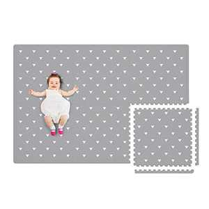 Extra Large Baby Foam Play Mat - 4FT x 6FT Non-Toxic Puzzle Floor Mat for Kids & Toddlers, Waterproof Expandable Tiles with Edges (Grey with White Triangle)