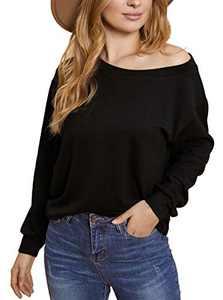 Avanova Women's Off Shoulder Top Casual Loose Basic Long Sleeve Tee Shirt Blouse Black X-Large
