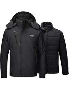 Wantdo Men's 3 in 1 Ski Jacket with Removable Puffer Liner Black Small