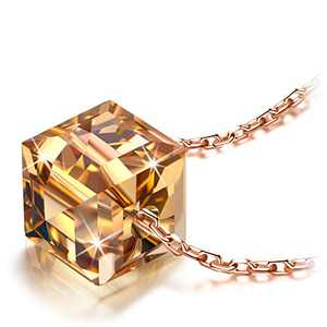 NINASUN Gold Crystal Necklaces for Women Cube Pendant Sterling Silver Jewelry Birthday Gifts for Her Mom Mother Daughter Wife Girls Christmas Mothers Valentines Day Graduation Golden Shadow Brown