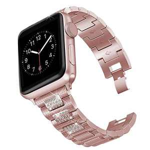 hooroor Bling Bands Compatible Apple Watch Band 38mm 40mm/42mm 44mm iWatch Series 6 SE 5 4 3 2 1 for Women Men, Diamond Rhinestone Bracelet Stainless Steel Metal Replacement Wristband Strap, Rose Gold