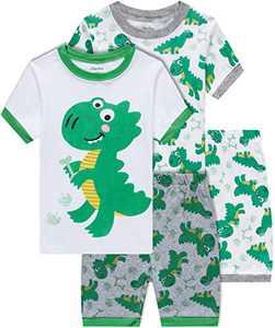 Boys Dinosaur Pajamas Summer Children 4 Piece Cotton Pjs Set Toddler Kids Sleepwear Size 5T