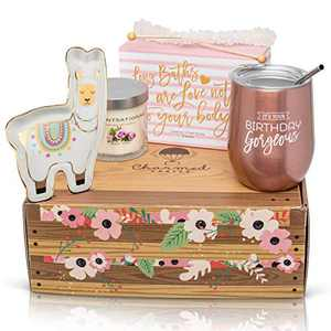 Happy Birthday Gift for Women: Stainless Steel Tumbler, Bath Bomb Set, Scented Candle, Wine Stopper, & Candy Box for Her