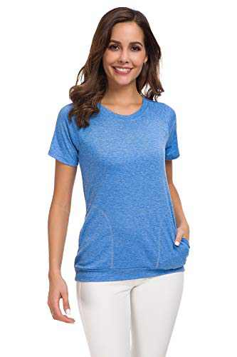 Womens Short Sleeve Casual Crew Neck Plain T Shirts Loose Fitting Basic Summer Blouses Tops with Pockets Blue