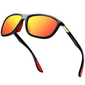 KANASTAL Polarized Sports Sunglasses For Men Women Cycling Driving Fishing UV400 Protection(Black Frame Red Lens)