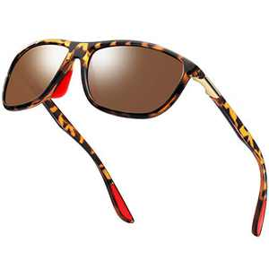 KANASTAL Polarized Sports Sunglasses For Men Women, Stylish Lightweight Sun glasses Comfort Frame (Leopard Frame Brown Lens)