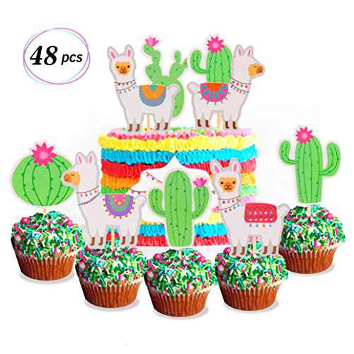 Yaaaaasss! 48 Pcs Llama Cupcake Toppers Cactus Cupcake Decor Mexican Fiesta Cinco De Mayo Themed Baby Shower Birthday Party Cake Decorations