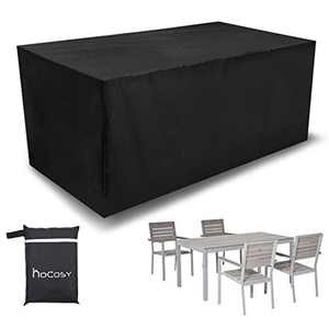 HOCOSY Protective Cover for Garden Furniture Chairs and Cover Waterproof Polyester Cube 200 x 160 x 70 cm, 210D Oxford for Garden Furniture Black