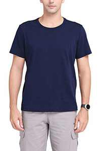 CAMEL CROWN Men's Cotton Crew Neck Short Sleeve T-Shirt,2-Pack Blue M