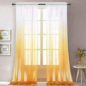 """LoyoLady Yellow Sheer Curtains 96 Inch Length 2 Panels Rod Pocket Ombre Curtains for Bedroom 52"""" W x 96"""" L"""