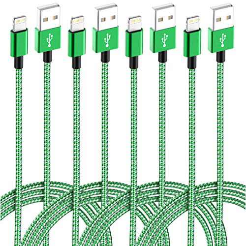 IDiSON 4Pack(10/6/6/3ft) MFi Certified iPhone Lightning Cable Braided Nylon Fast Charger Cable Compatible iPhone X XR XS MAX 8 Plus 7 6s 5s 5c Air iPad Mini iPod(Green+White)