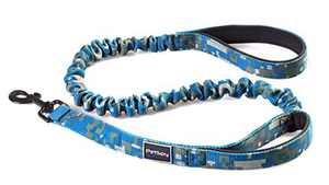 PetSpy Two Handle Dog Leash with Shock Absorbing - Improved Control & Training Bungee Pet Lead 4-6 ft (Blue)
