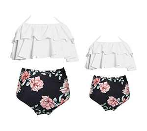 BAOSHI1 Family Matching Swimsuits Mommy and Me Bathing Suits Womens Girl Two Piece Bikini Sets, White+black, mom-L