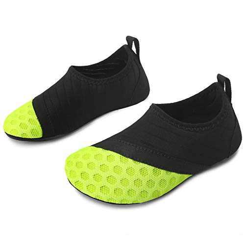 L-RUN Kids Water Shoes Boys Girls Slip-on Aqua Beach Shoes Green 9.5-10=EU26-27