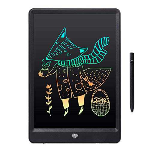 """10"""" Drawing LCD Writing Tablet Small Dry Erase White Board for Kid Birthday Toy for Children Adult, Weekly Daily to Do List Notepad for Home Office & Car LWT89 - Rainbow Black"""