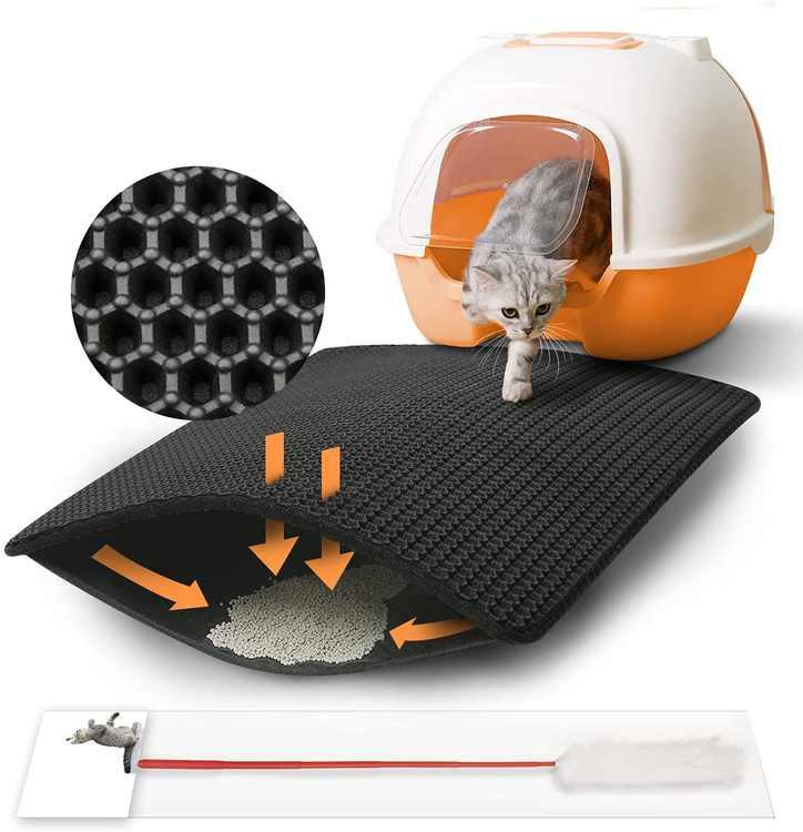 Focuspet cat litter mat, cat litter mat 23.6'' x 17.7''cat litter mat honeycomb design cat litter carpet waterproof double layer design honeycomb cat litter mat feather toy black