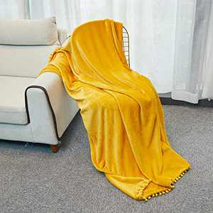 """INSHERE Solid Color Mustard Yellow Flannel Velvet Throw Blanket with Pom Pom Ball Fringe Tassel Plush Soft Cozy All Season for Couch Bed Sofa Outdoor Indoor Home Decor Party 60""""x50"""""""