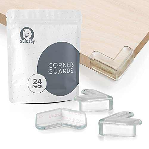 Surbaby Corner Protector Baby - L-Shaped Clear Corner Guards High Resistant Adhesive - Baby Safety Products-Baby Proof Corners and Edges- Table Corner Protectors Corner Guards for Baby (24 Pack)