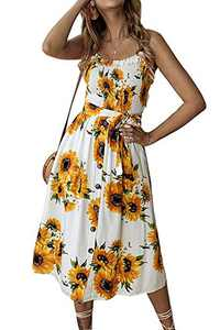 Alelly Women's Summer Boho Spaghetti Strap Button Down Semi-Backless A-Line Midi Dress with Belt Yellow