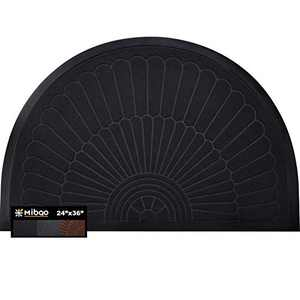 "Mibao Half Round Door Mat, Durable Front Outdoor Rug, Heavy Duty Rubber Mats, Non-Slip Low Profile Semicircle Doormats for Entry, Garage, Patio, High Traffic Areas, 24"" x 36"", Black"
