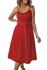 Alelly Women's Summer Boho Spaghetti Strap Button Down Semi-Backless A-Line Midi Dress with Belt and Pockets Red