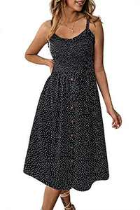 Alelly Women's Summer Boho Spaghetti Strap Button Down Semi-Backless A-Line Midi Dress with Belt and Pockets Black