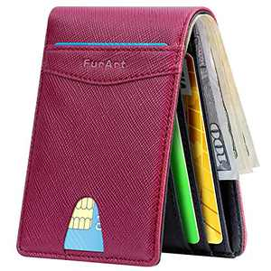Slim Minimalist Bifold Wallet, FurArt Leather Front Pocket Wallet for Men & Women, RFID Blocking