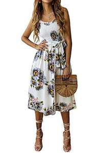Alelly Women's Summer Boho Spaghetti Strap Button Down Semi-Backless A-Line Midi Dress with Belt and Pockets Gray