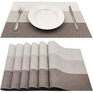 Familamb Placemats for Dining Table Set of 6 Woven Vinyl Washable Table Placemats Table Decoration Heat Insulation Stain Resistant Beige