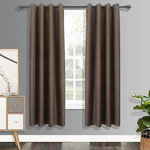 csoft 100% Blackout LinenCurtains with 4 Pass Coating, Energy Efficient Thermal Insulated Window Drapery, Linen Room Darkening Curtains for Living Room Bedroom(Chocolate 52W X 63L Inch 1 Panel)
